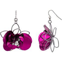 Bay Studio Berry Sequin Hematite Flower Earrings