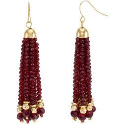Bay Studio Red Facet Glass Tassel Drop Earrings