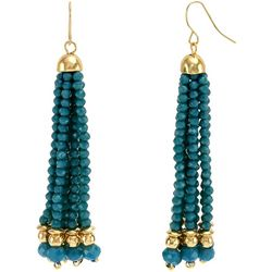Bay Studio Teal Bead Tassel Dangle Earrings