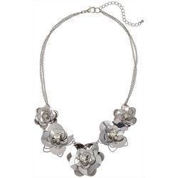Bay Studio Silver Sequin Flower Frontal Necklace