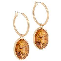 Bay Studio Gold Tone Abalone Drop Hoop Earrings
