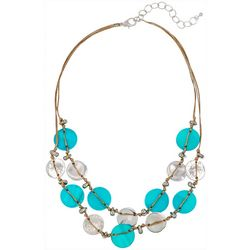 Bay Studio Double Row Aqua Shell Disc Necklace