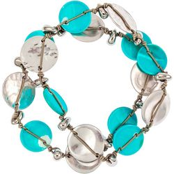 Bay Studio 2 Pc Aqua Shell Disc Stretch Bracelet