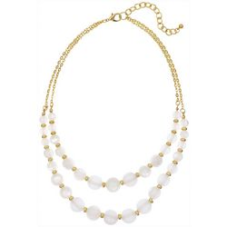 Bay Studio 2 Row White Gold Tone Beaded Necklace