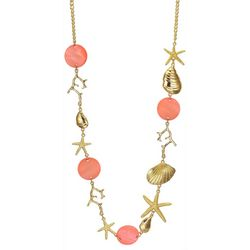 Bay Studio Coral Shell Disc & Sealife Necklace