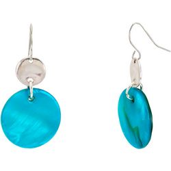 Bay Studio Aqua Shell Disc Drop Earrings