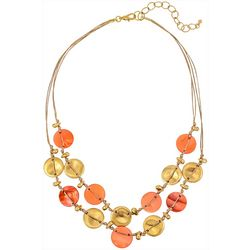 Bay Studio 2 Row Coral Shell Disc Frontal Necklace