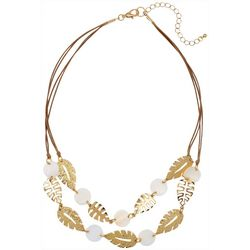 Bay Studio Corded Leaf & Shell Frontal Necklace