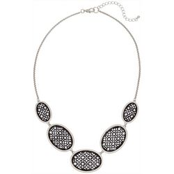 Bay Studio Silver Tone & Black Cutout Necklace