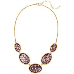 Bay Studio Gold Tone & Red Cutout Frontal Necklace