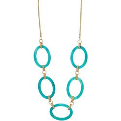 Bay Studio Large Teal Link Gold Tone Necklace