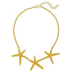Gold Tone Starfish Trio Necklace