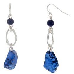Silver Tone Stone Drop Earrings