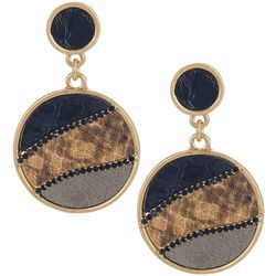 Bay Studio Faux Snake Disc Post Top Earrings