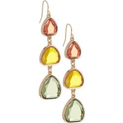 Bay Studio Gold Tone Yellow Glass Drop Earrings