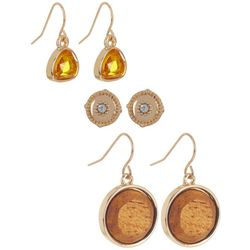 Bay Studio Trio Rhinestone Cork & Glass Earrings