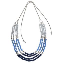 Bay Studio Blue & Silver Tone Slide Adjustable Necklace
