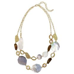 Bay Studio Shell Discs & Hammered Gold Tone Linked Necklace
