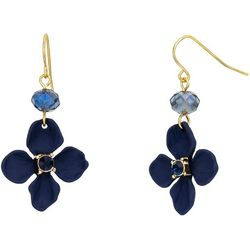 Bay Studio Navy Blue Flower Dangle Earrings