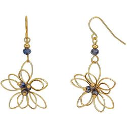 Bay Studio Gold Tone Wire Wrap Blue Flower Earrings