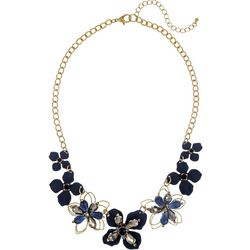 Bay Studio Navy Blue Multi Flower Front Necklace