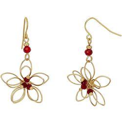 Bay Studio Gold Tone Wire Wrap Red Flower Earrings