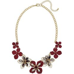 Bay Studio Berry Red Flower Front Chain Necklace