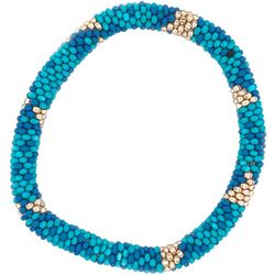 Bay Studio Blue Gold Tone Seed Bead Bracelet