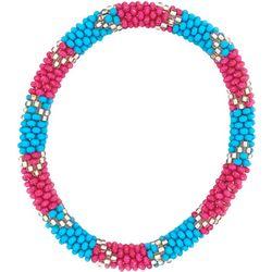Bay Studio Pink Blue Gold Tone Seed Bead Bracelet