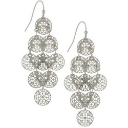 Bay Studio Silver Tone Filigree Disc Kite Drop Earrings