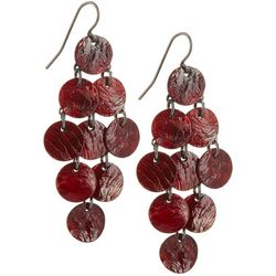 Bay Studio Red Shell Disc Cluster Dangle Earrings