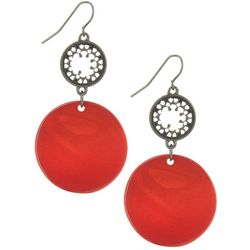Bay Studio Hematite Tone Red Disc Dangle Earrings