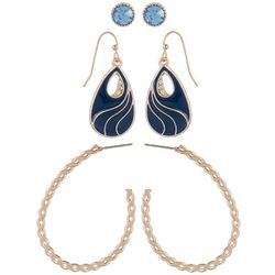 Bay Studio 3-pc. Rose Gold Tone & Blue Earrings