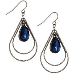 Bay Studio Blue Hematite Tone Teardrop Earrings
