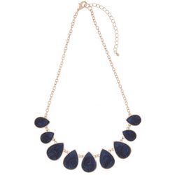 Bay Studio Navy Blue Enamel Teardrop Fashion Necklace