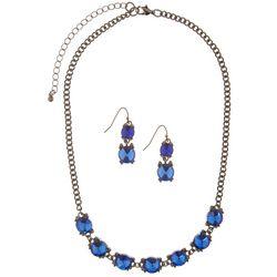 Bay Studio Blue Stone Frontal Necklace & Earring Set