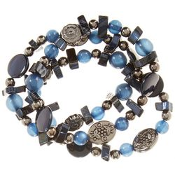 Bay Studio 3 Row Blue Shell & Beaded Stretch Bracelet Set