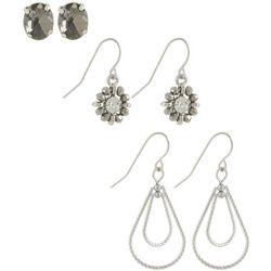 Bay Studio Silver Tone Post Top & Dangle Earring Set
