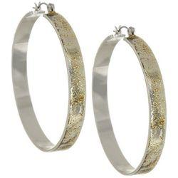 Bay Studio Silver Tone Glitter Hoop Earrings