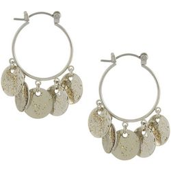 Bay Studio Silver Tone Glitter Disc Hoop Earrings