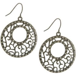 Bay Studio Rhinestone Hematite Tone Disc Drop Earrings