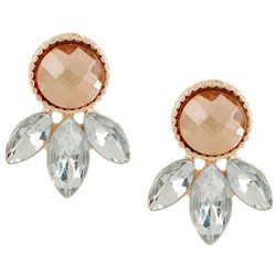 Bay Studio Rose Gold Tone Faceted Stone Stud Earrings