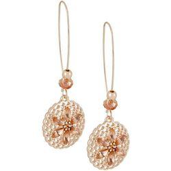 Bay Studio Rose Gold Tone Filigree Disc Flower Drop Earrings