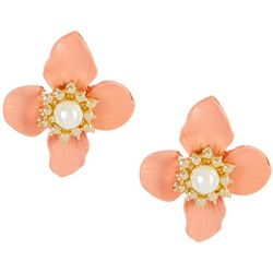 Bay Studio Floral Button Post Back Earrings