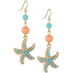 Bay Studio Aqua Blue Starfish Drop Earrings