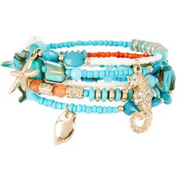Bay Studio Coral & Aqua Blue Beaded Coil Bracelet