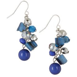 Bay Studio Blue Shell Chips & Bead Cluster Earrings