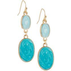 Bay Studio Turquoise Blue Double Oval Gold Tone Earrings