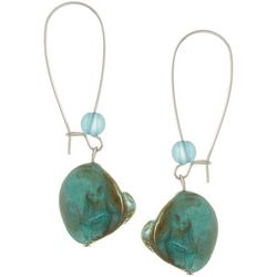 Bay Studio Shell Dangle Silver Tone Wire Earrings