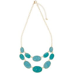 Bay Studio Gold Tone Double Row Blue Enamel Oval Necklace